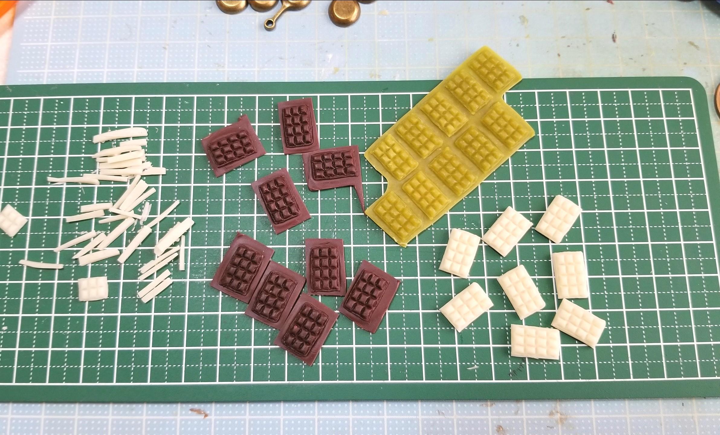 ミニチュア,板チョコレート,製作中,バレンタイン,樹脂粘土,あまむす