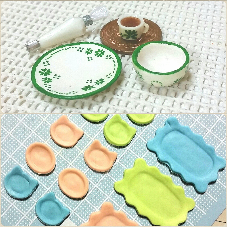 過去作品,ミニチュアフード,お皿,食器,石塑粘土,ドールハウス,人形用