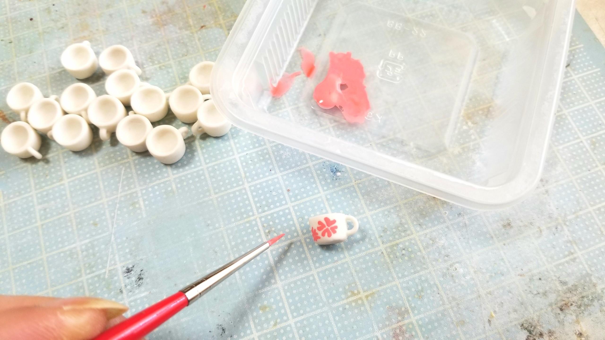 ラブティーカップ作り方,ミニチュア,樹脂粘土,フェイクフード,ドール