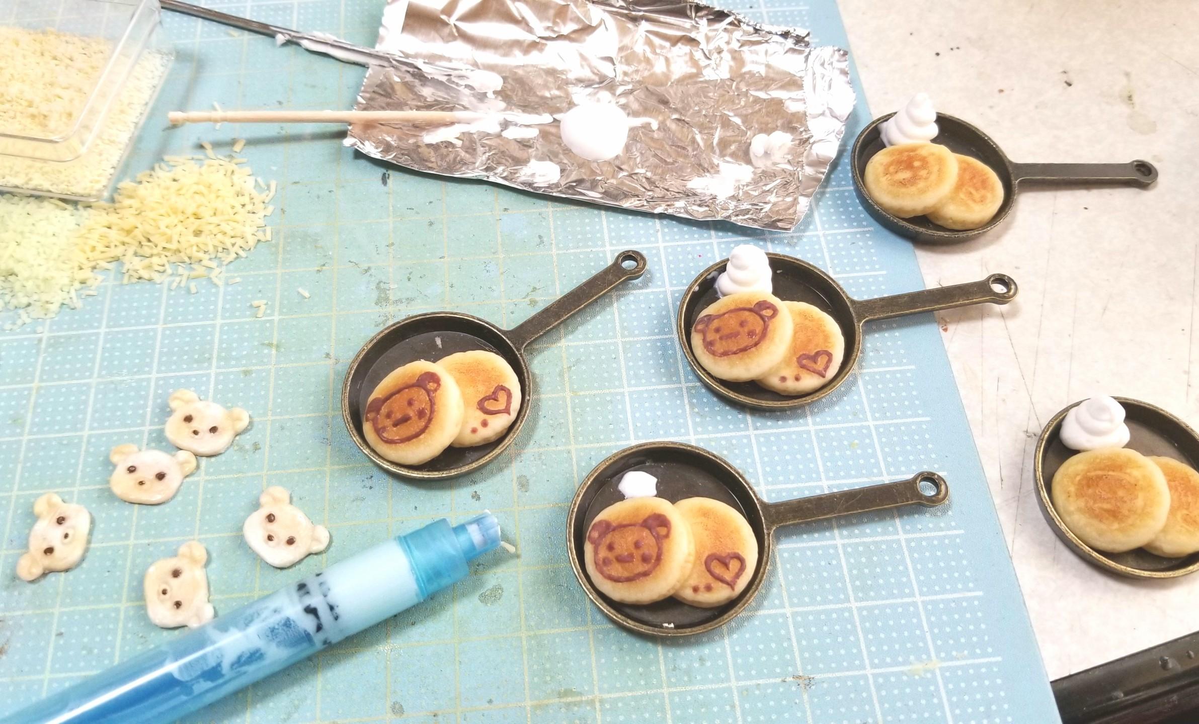ミニチュアフード,クマちゃんホットケーキの作り方,フェイクフード
