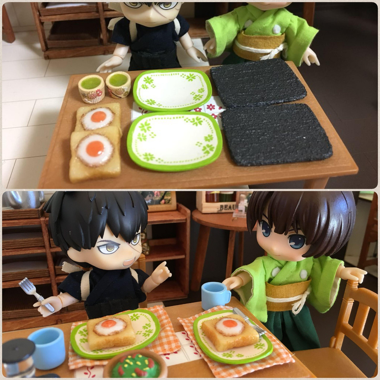 キューポッシュ,ミニチュアフード,トースト,お皿,ドール,人形