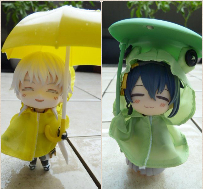 ねんどろいど刀剣男士本丸,鶴丸,三日月,雨が降って雨ガッパ,超可愛い