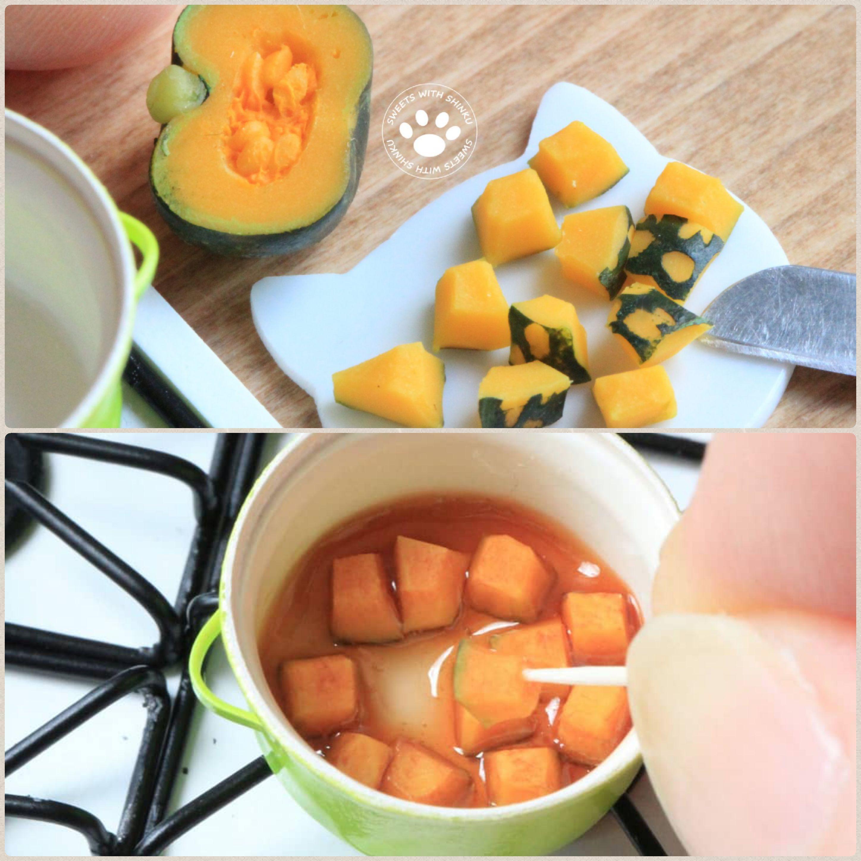 Shinku,可愛い手料理かぼちゃの煮物,ハンドメイド,ミニチュアフード