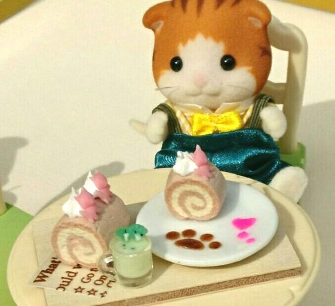シルバニアファミリー,Varieの実のあ,ミニチュアフード,ロールケーキ