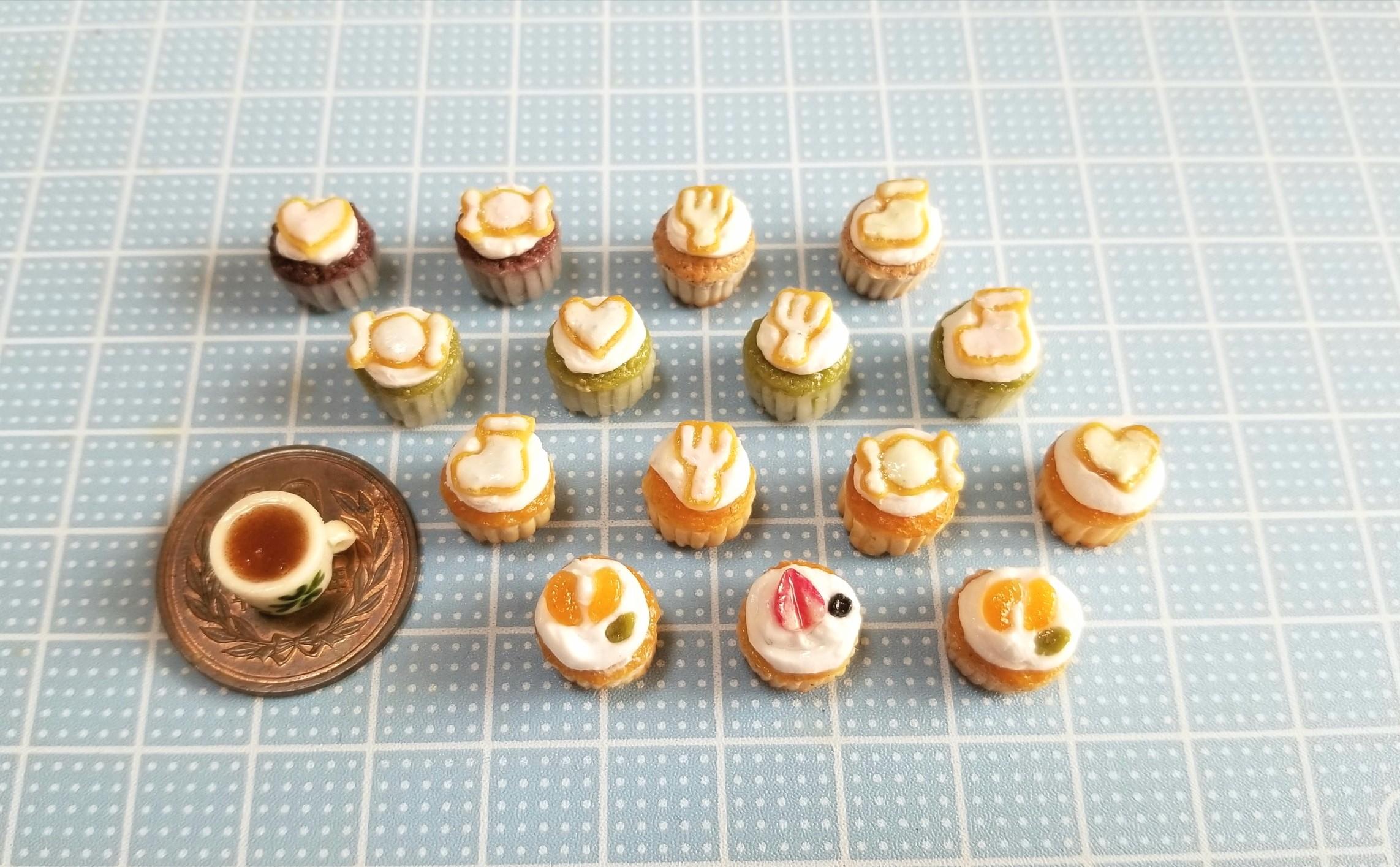 ミニチュア,カップケーキ,アイシングクッキー,樹脂粘土,食品サンプル