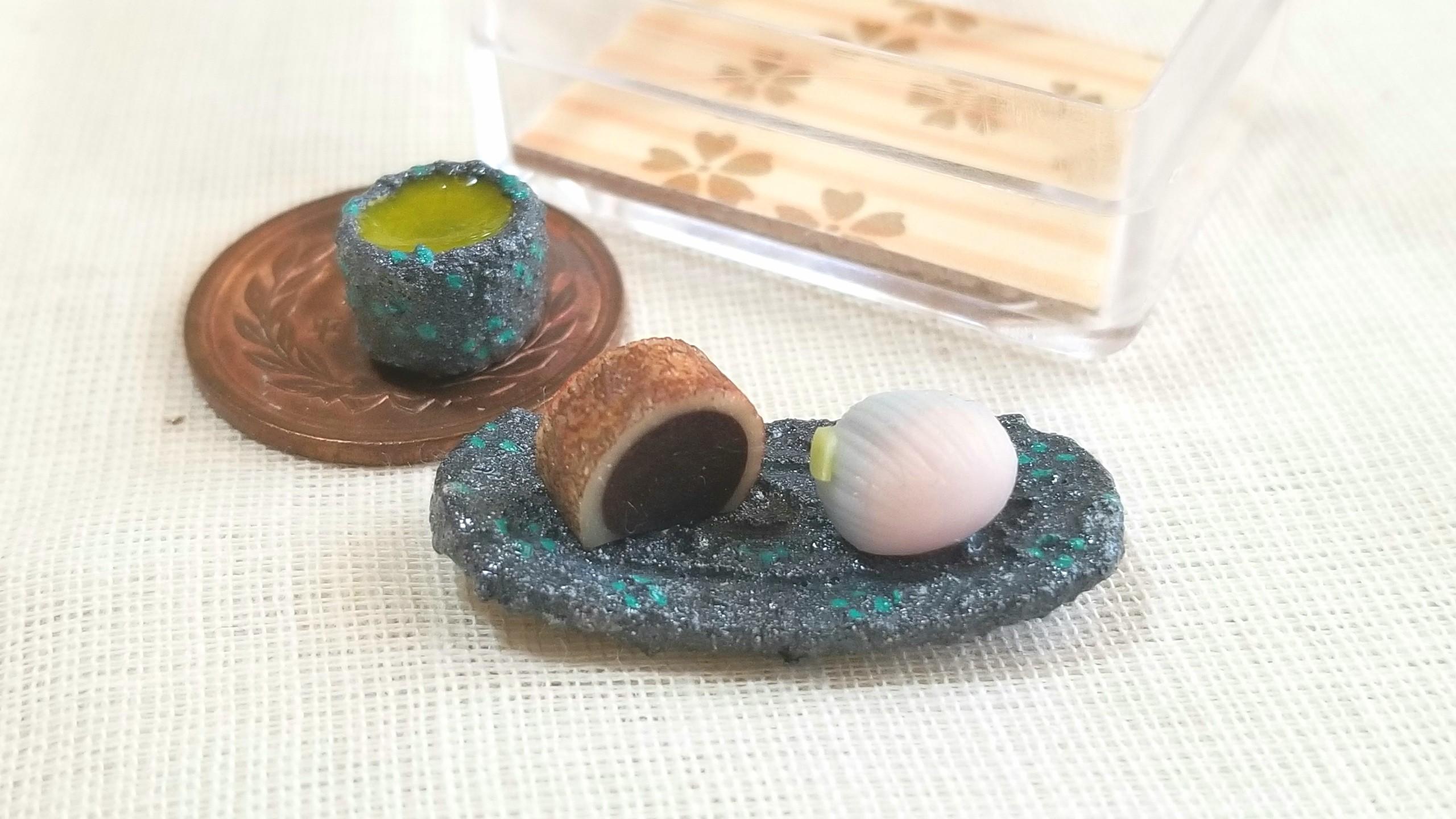 和菓子,藤,あんこ,ミニチュアフード,キューポッシュ,粘土,和スイーツ