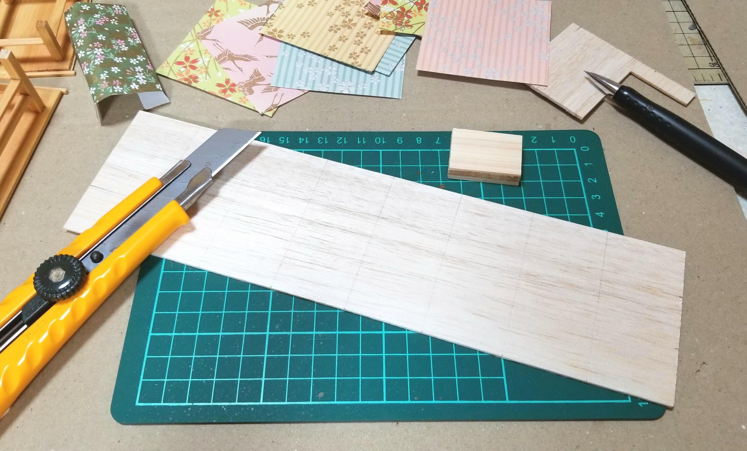 ミニチュアフード,菓子箱,和菓子屋,千代紙,折り紙,バルサ材,作り方