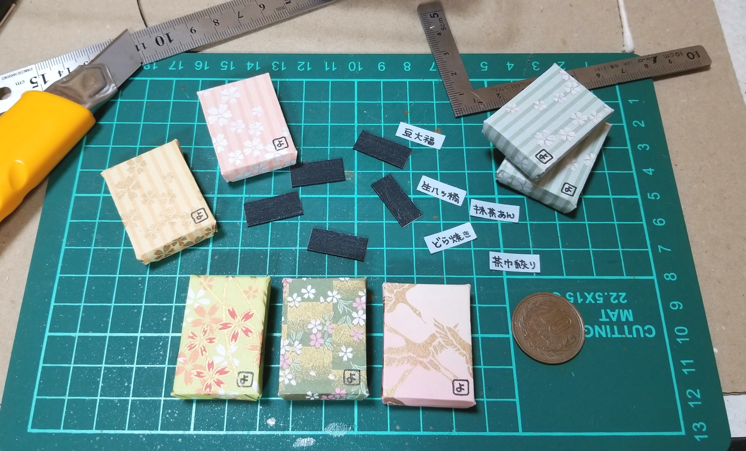 ミニチュアフード,菓子箱,和菓子屋,千代紙,折り紙,バルサ,作り方,桧