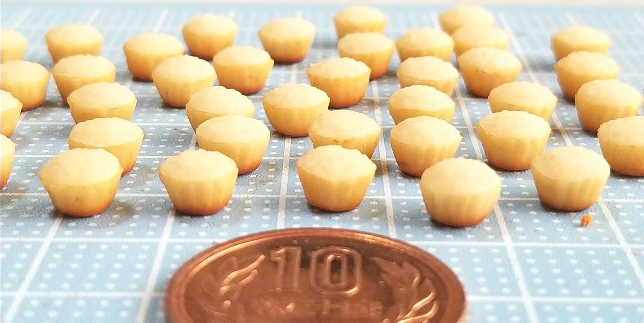 ミニカップケーキ,着色,作り方,ミニチュアフード,樹脂粘土,オビツ11