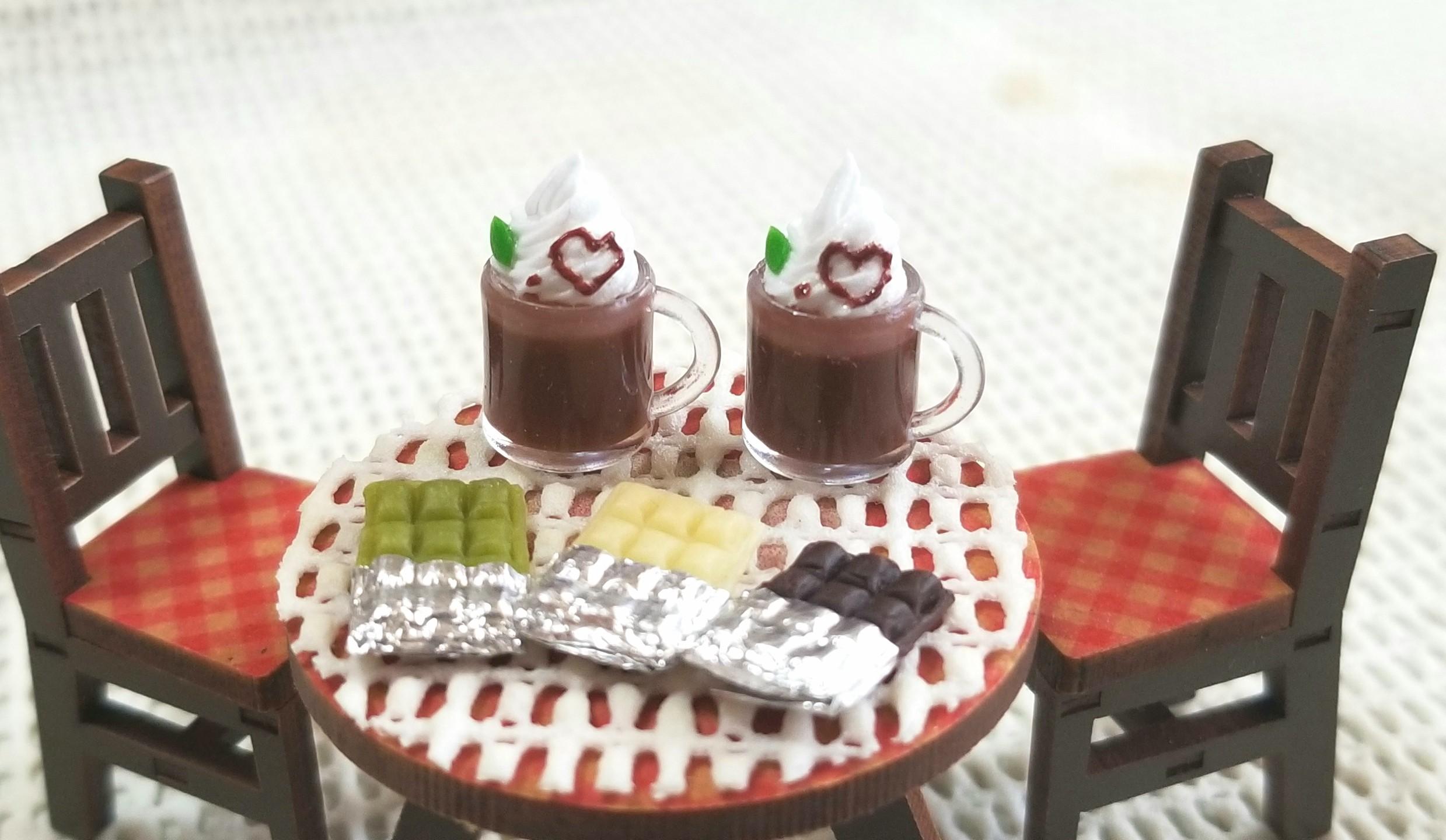 ミニチュアフード,チョコレートドリンク,ラテ,板チョコレート