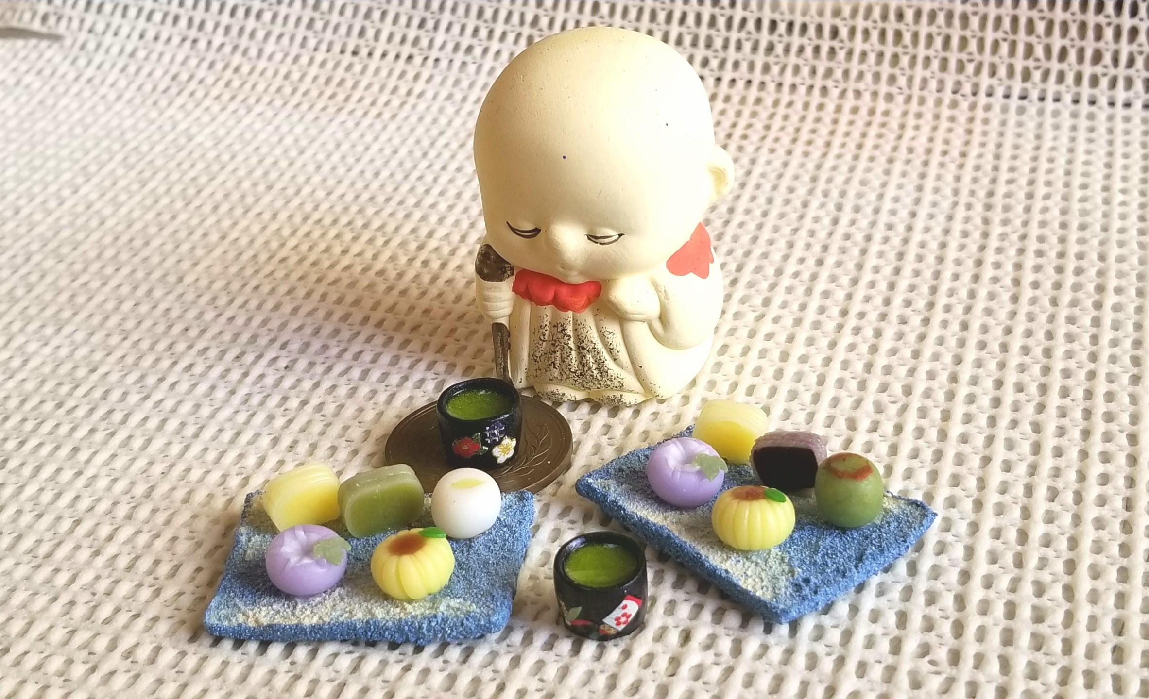 和菓子,ミニチュア,ミニチュアフード,樹脂粘土,ねんどろ刀剣男子