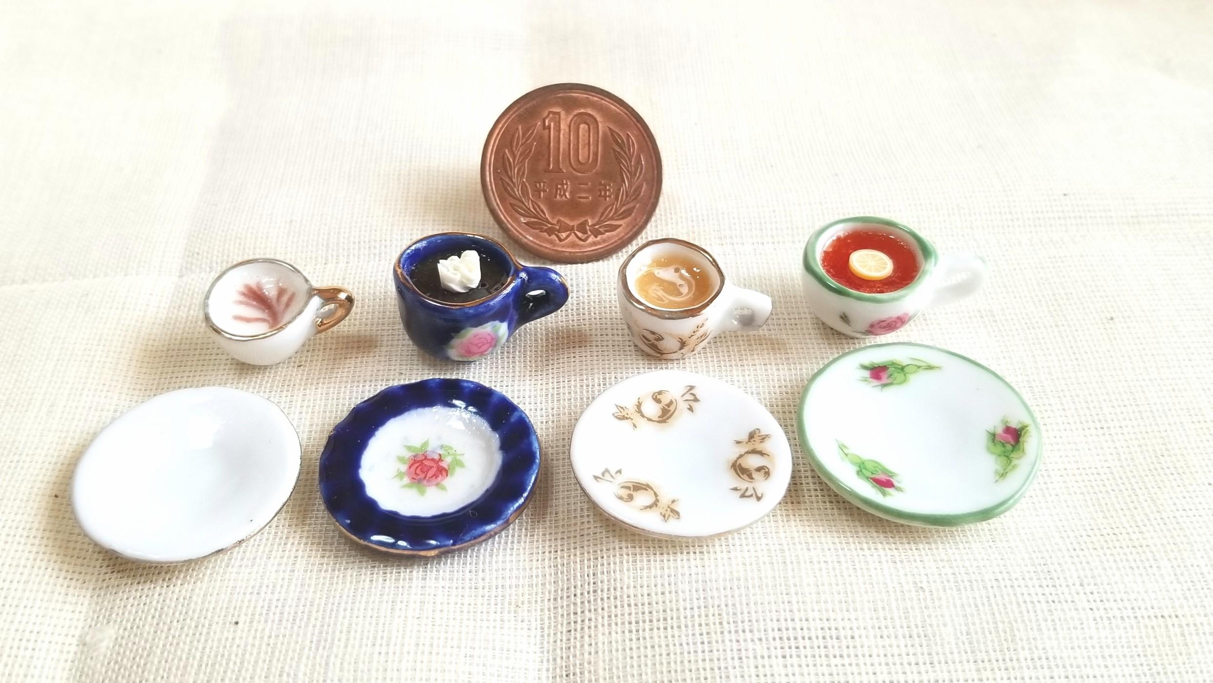 ミニチュア陶器の食器,かわいいティーカップ,おしゃれな飲み物,販売
