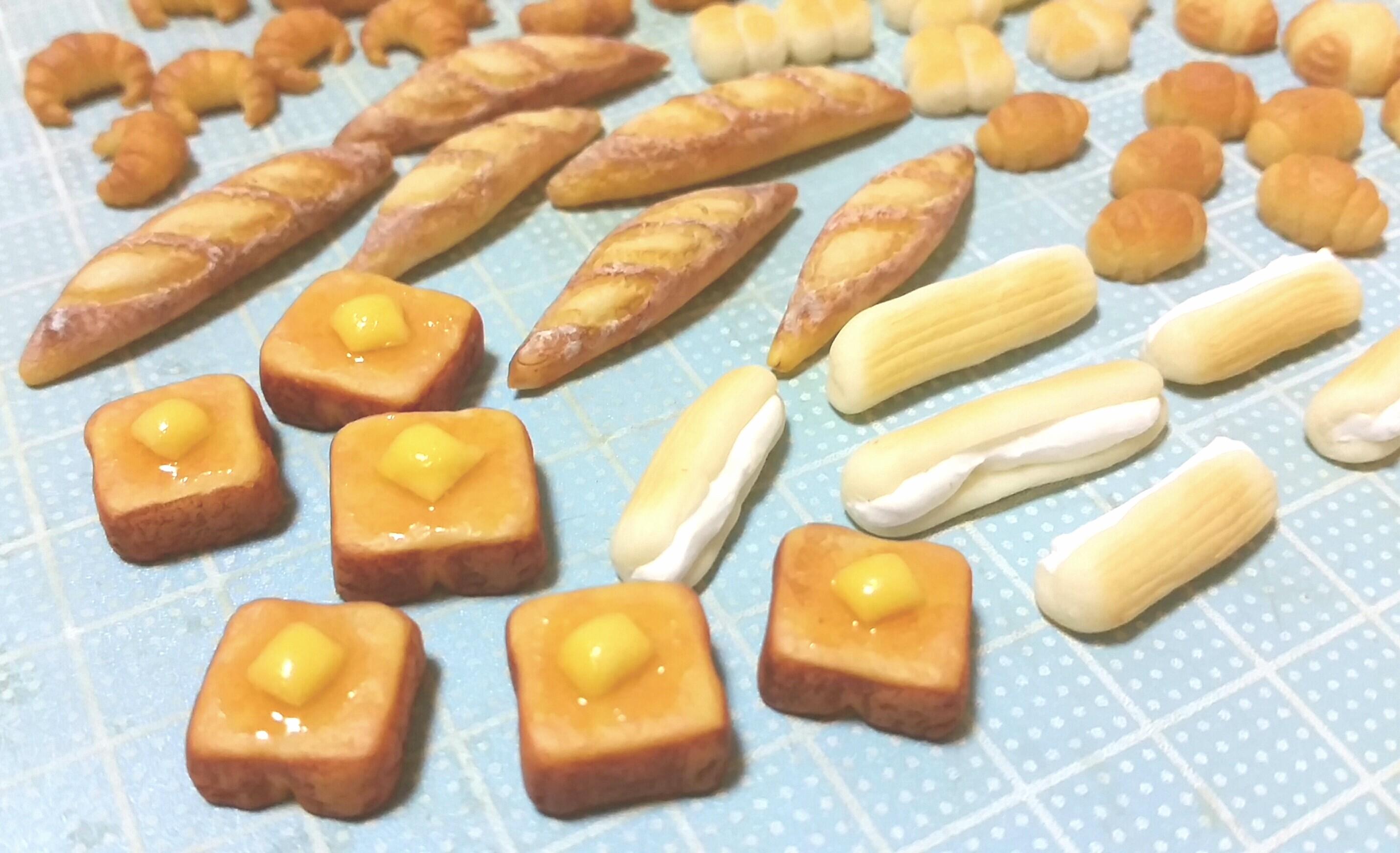 ミニチュア,かわいいパン,バタートースト,樹脂粘土,まとめ画像,自作