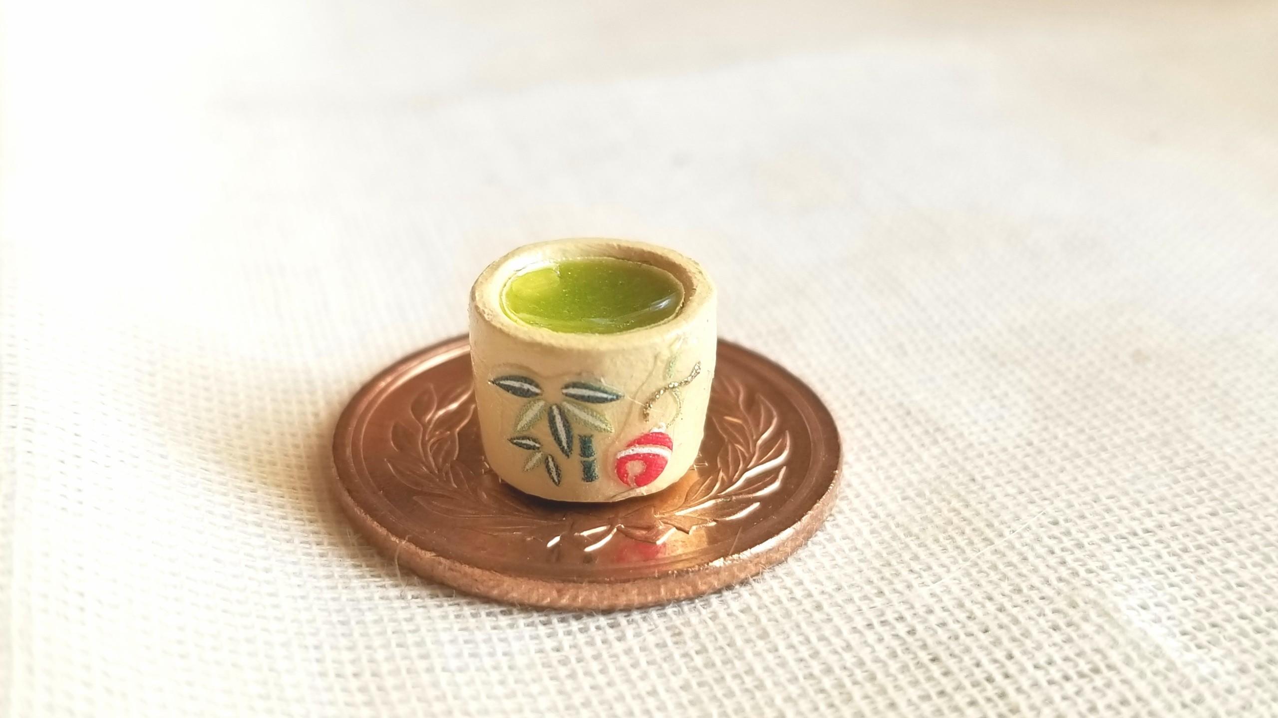 ミニチュア抹茶,和風のお茶,おしゃれ,上品な和柄,小物レジンアート