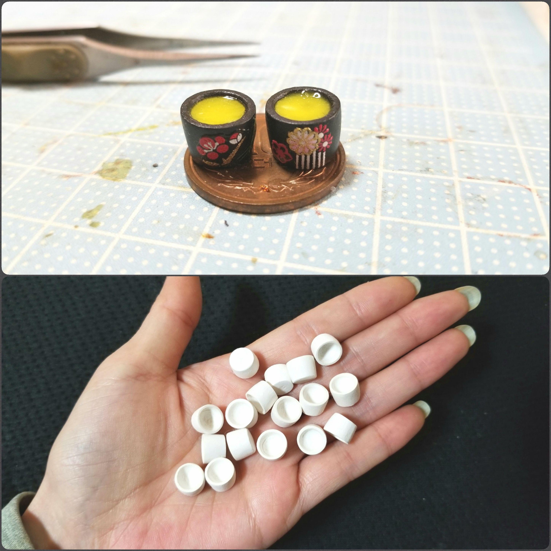 ミニチュアフード,使う道具や材料,お抹茶,和柄和風石塑粘土,ブログ