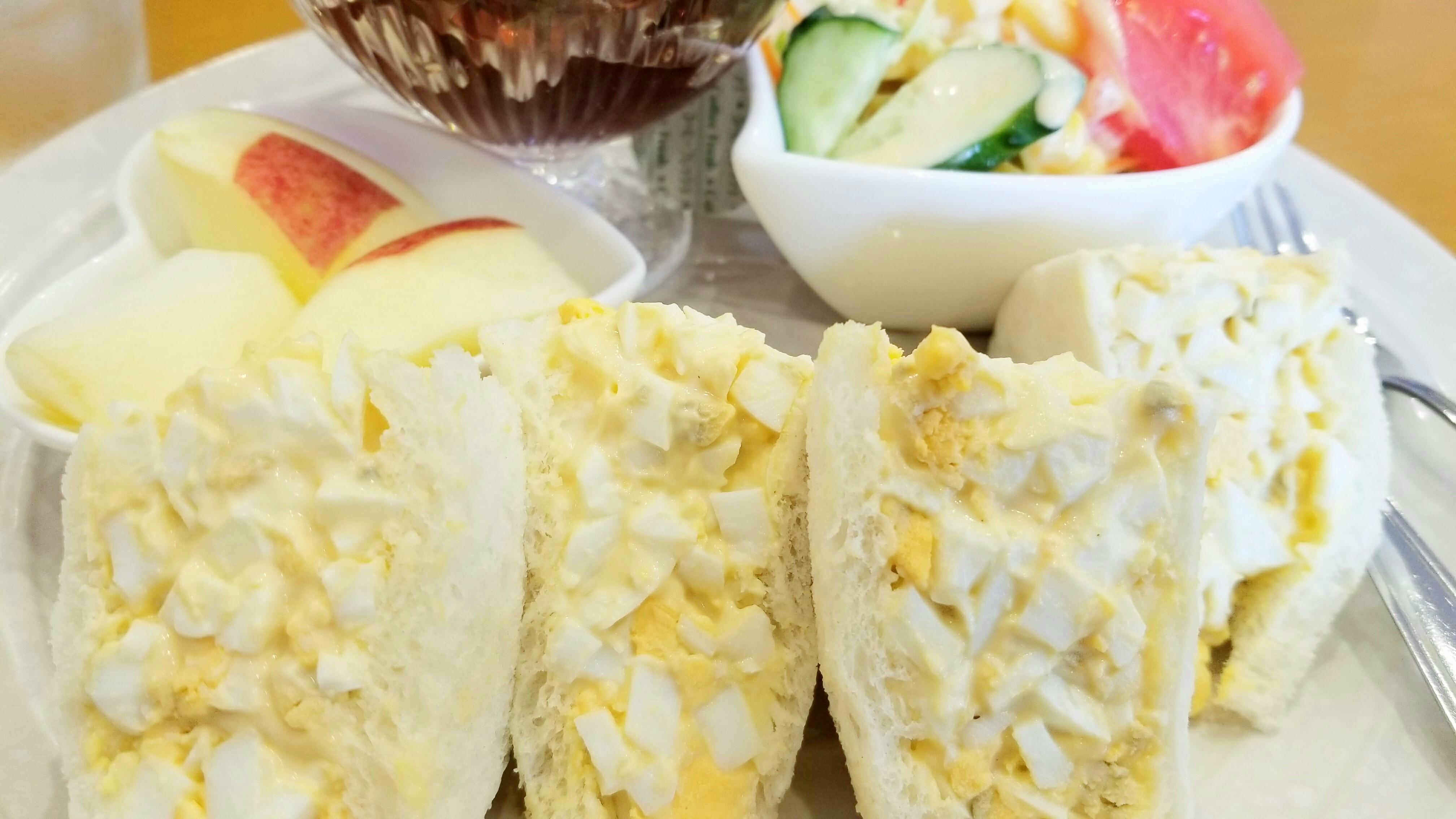 サンドイッチ具卵塩分カフェ画像美味しい手作りうまい画像愛媛松山市