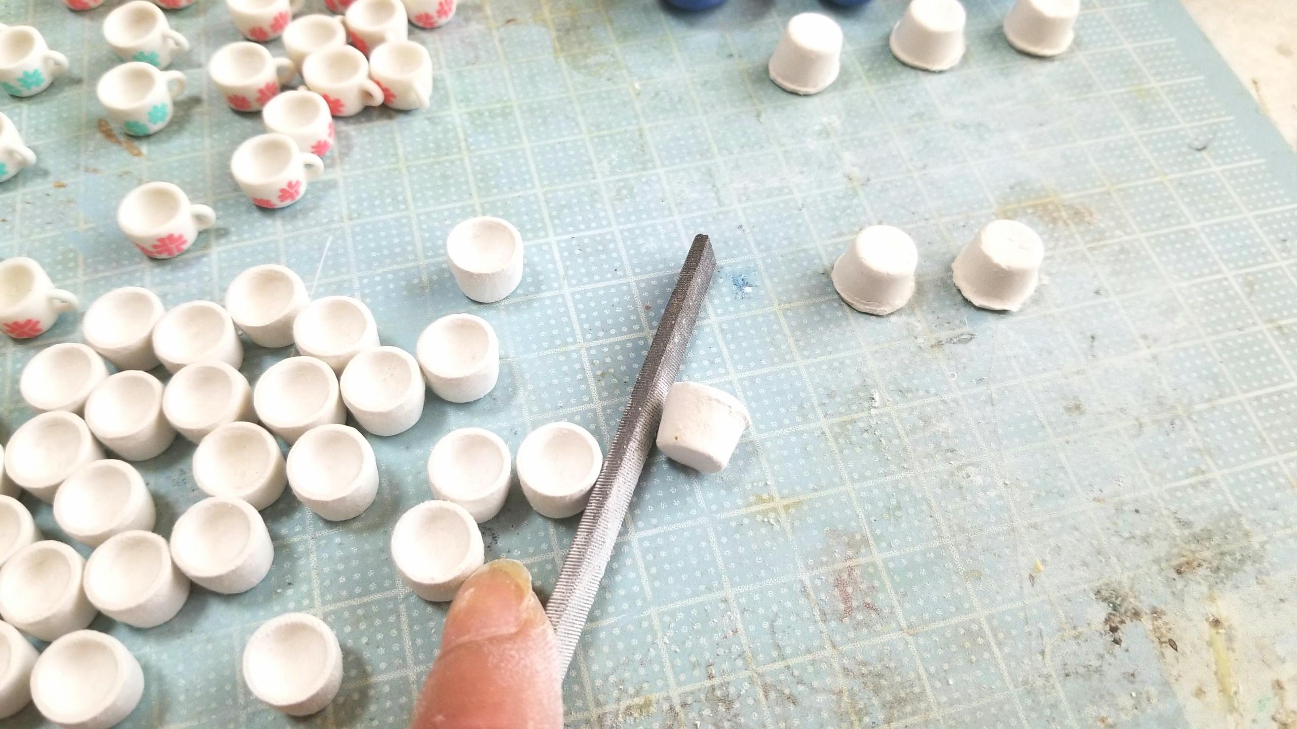 陶器風,お抹茶,ミニチュア,作り方,石塑粘土,食玩,おもちゃ,樹脂,和風