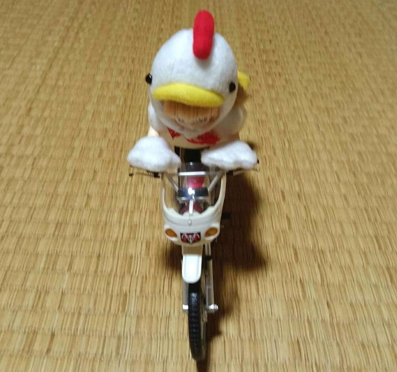 ドール遊び,可愛いにわとり,キューポッシュ,バイクで走る,プラモデル