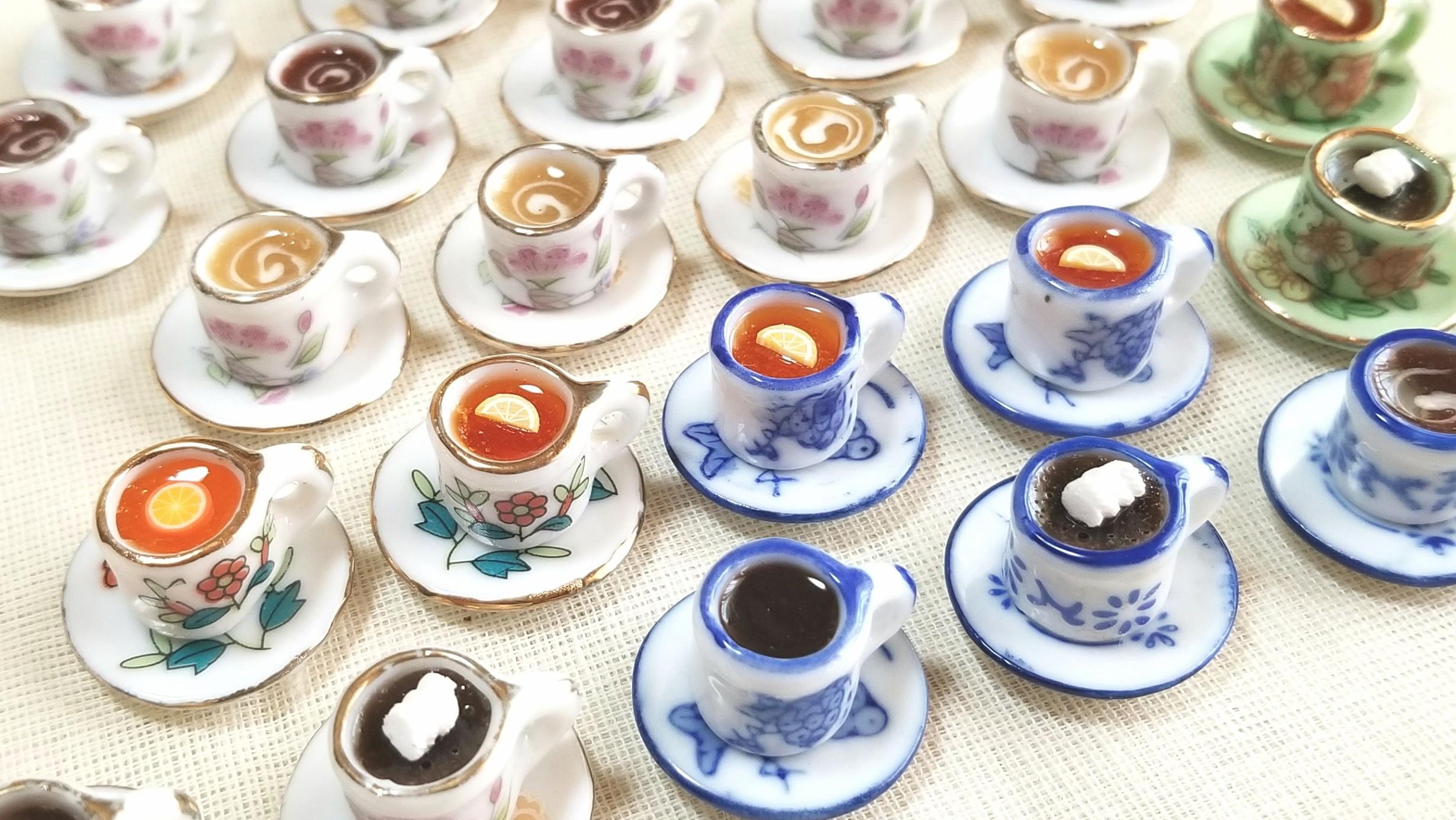ミニチュアフード,陶器,カップ,レモンティー,ミルク,ラテ,コーヒー