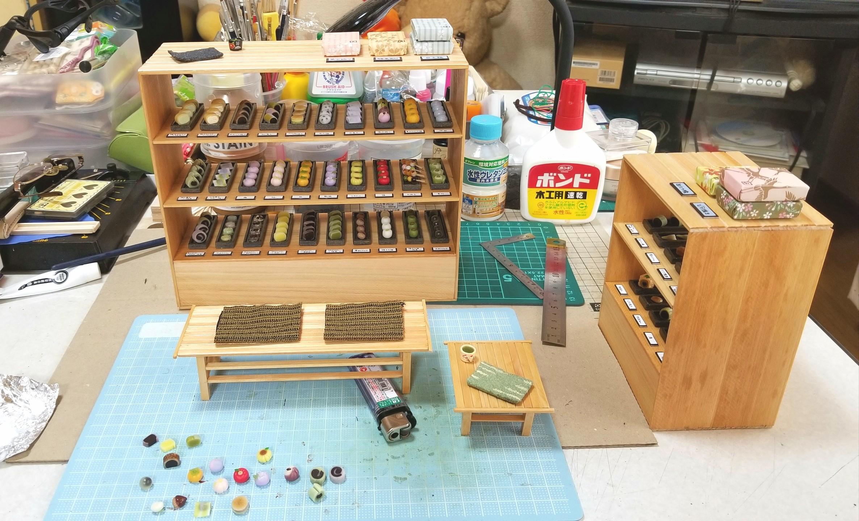 ミニチュアフード,お盆,和菓子屋,トレー,作り方,桧,お茶菓子セット