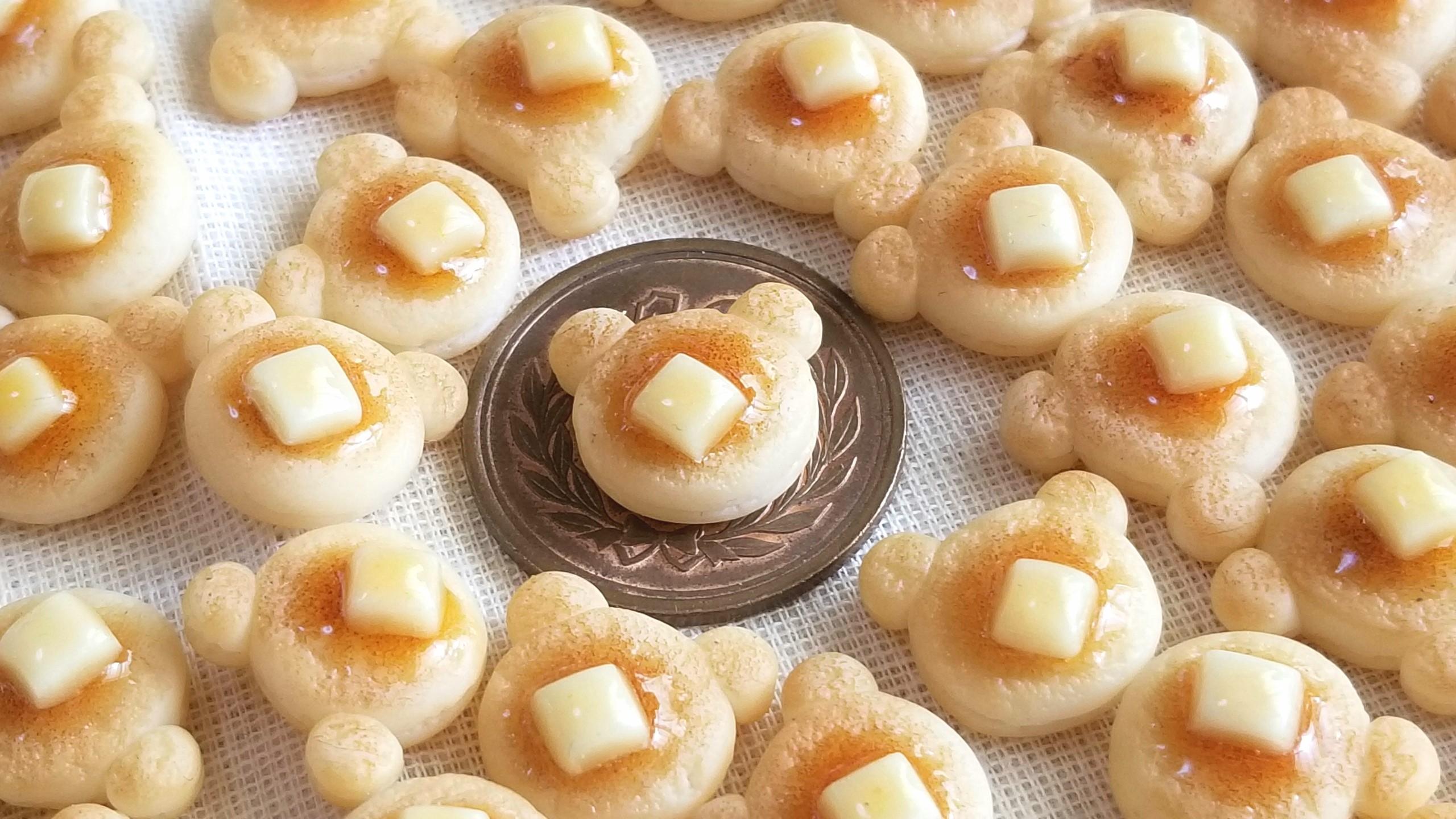 クマちゃんホットケーキ,ミニチュアフード,ミンネで販売中,樹脂粘土