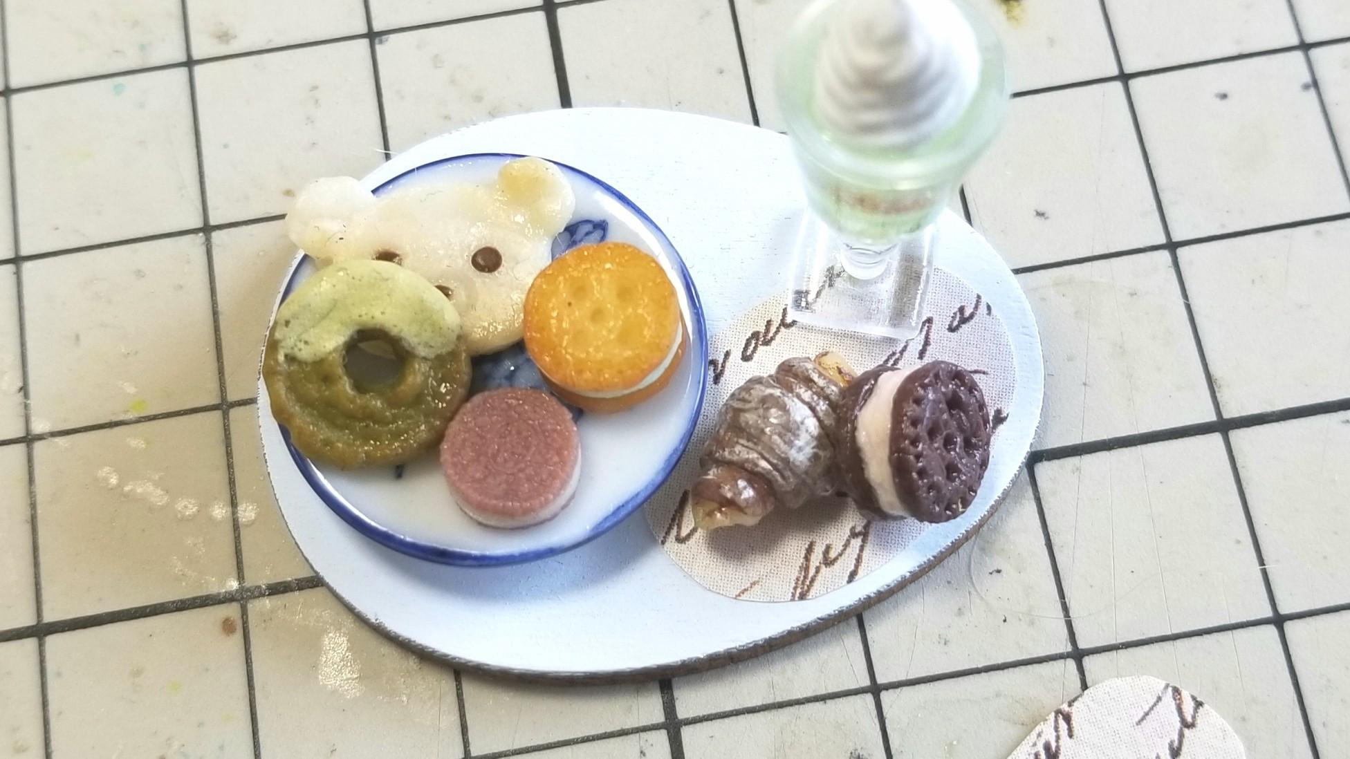 ミニチュア,スイーツセット,クッキードーナツ,かわいい小物おいしい