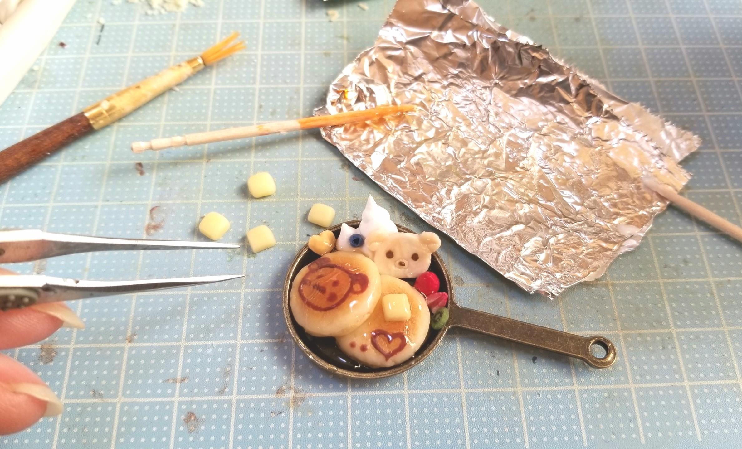 ミニチュアフード,クマちゃんホットケーキの作り方,樹脂粘土,ドール