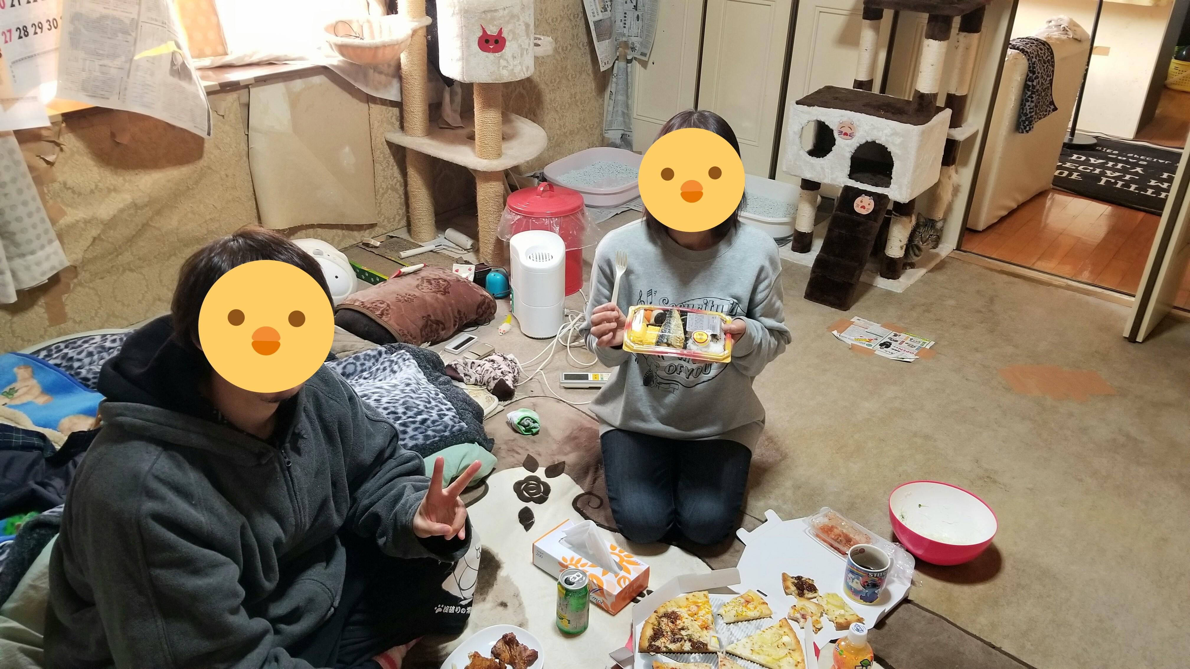 2019親戚とクリスマス会チキンケーキピザおいしい楽しかった1日