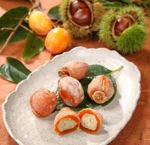 秋の味覚,食欲の秋,みのりの秋,干し柿,栗,栗まんじゅう,美味しい饅頭