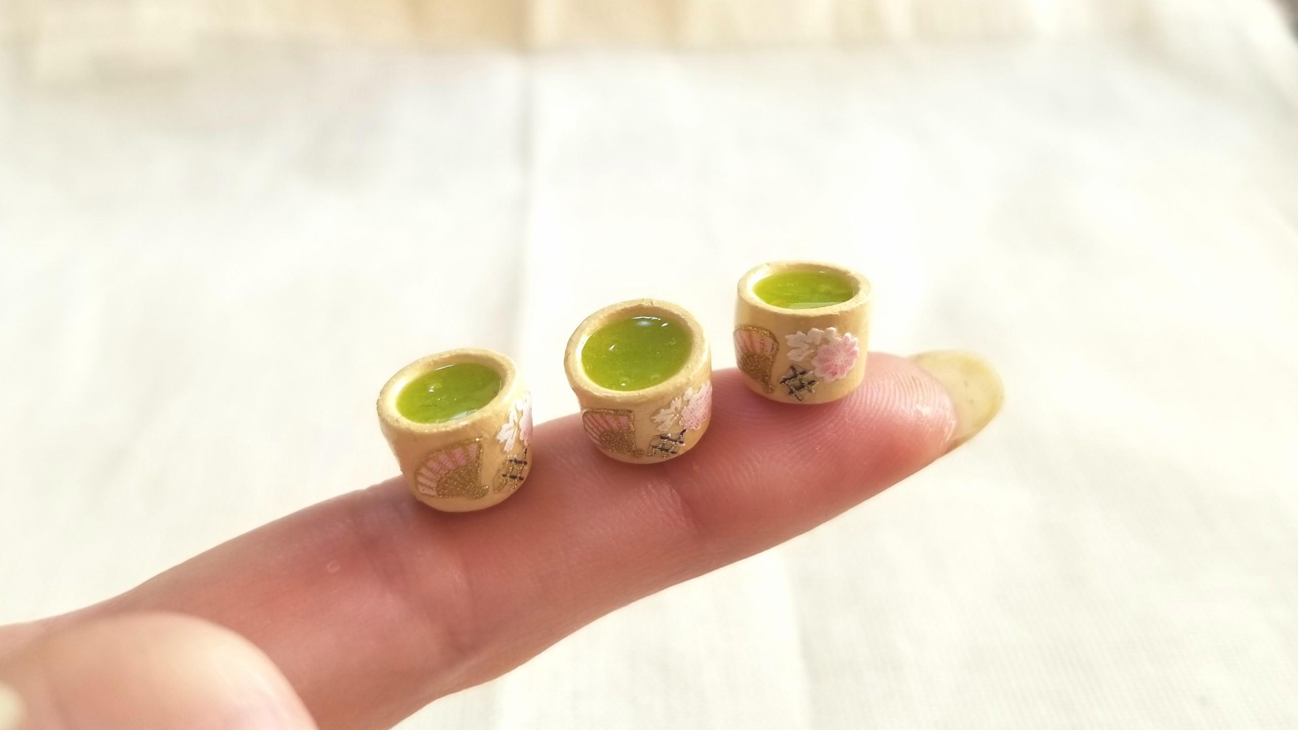 お抹茶,お茶,UVレジン,ミニチュアフード,石塑粘土,フェイクフード