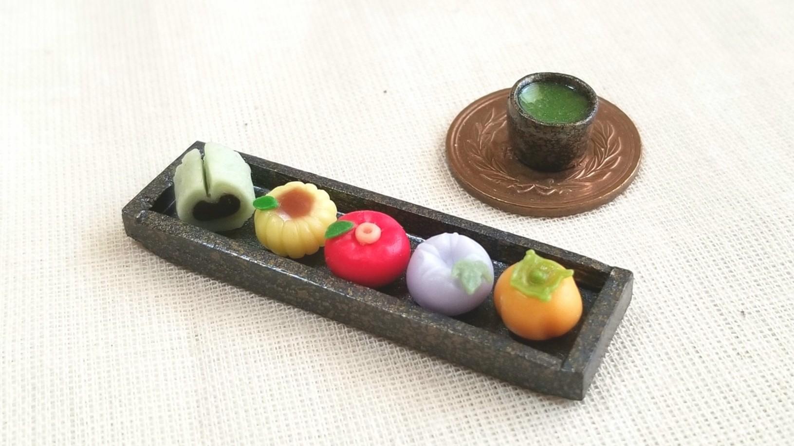 ミニチュアフード和菓子,生菓子,おいしい季節の有名茶菓,自作アート