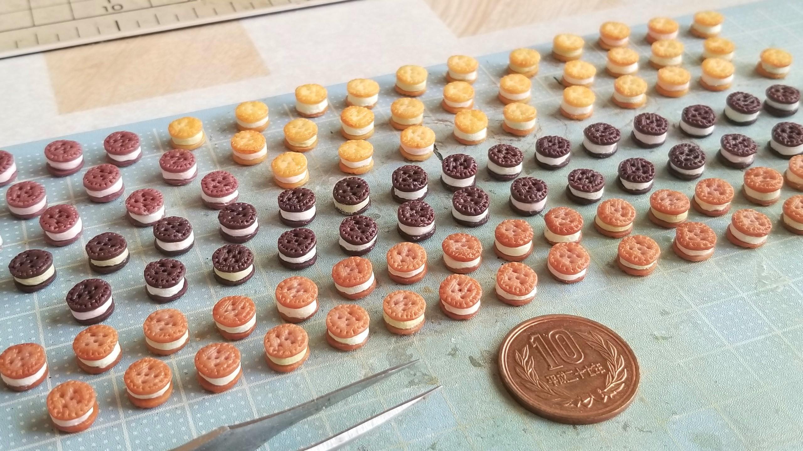 クッキーサンドアイス,ミニチュアフード,プチフェアリー,食玩,粘土