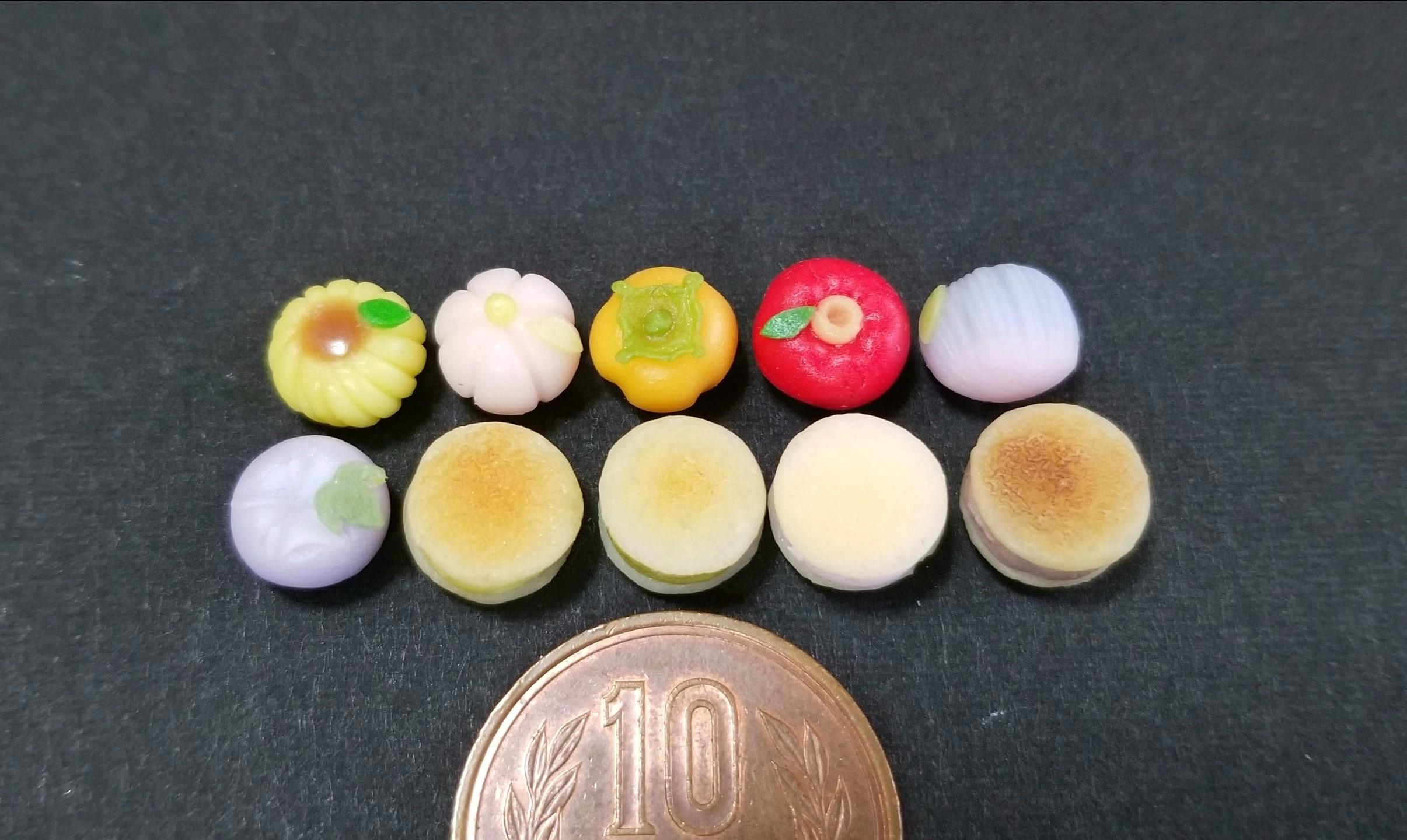 和菓子,ミニチュア,樹脂粘土,バービー人形,練りきり,あまむす