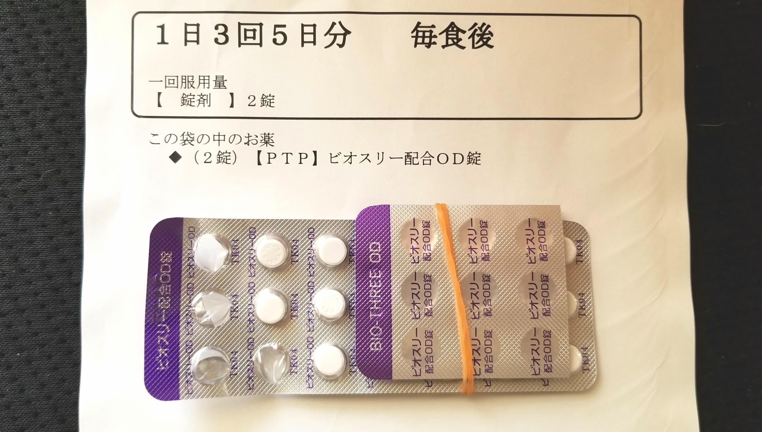 整腸剤,下痢嘔吐,ptp,ビオスリー配合,激しい吐き気と嘔吐,ひどい頭痛