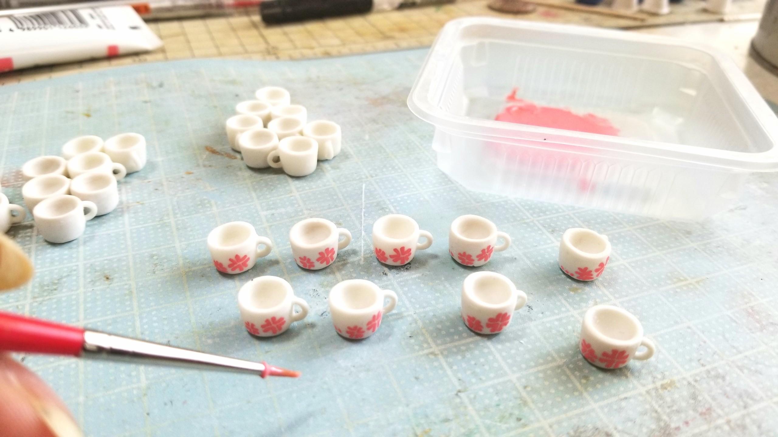 ラブティーカップ,作り方,ミニチュア,樹脂粘土,ドール,人形,ペイント
