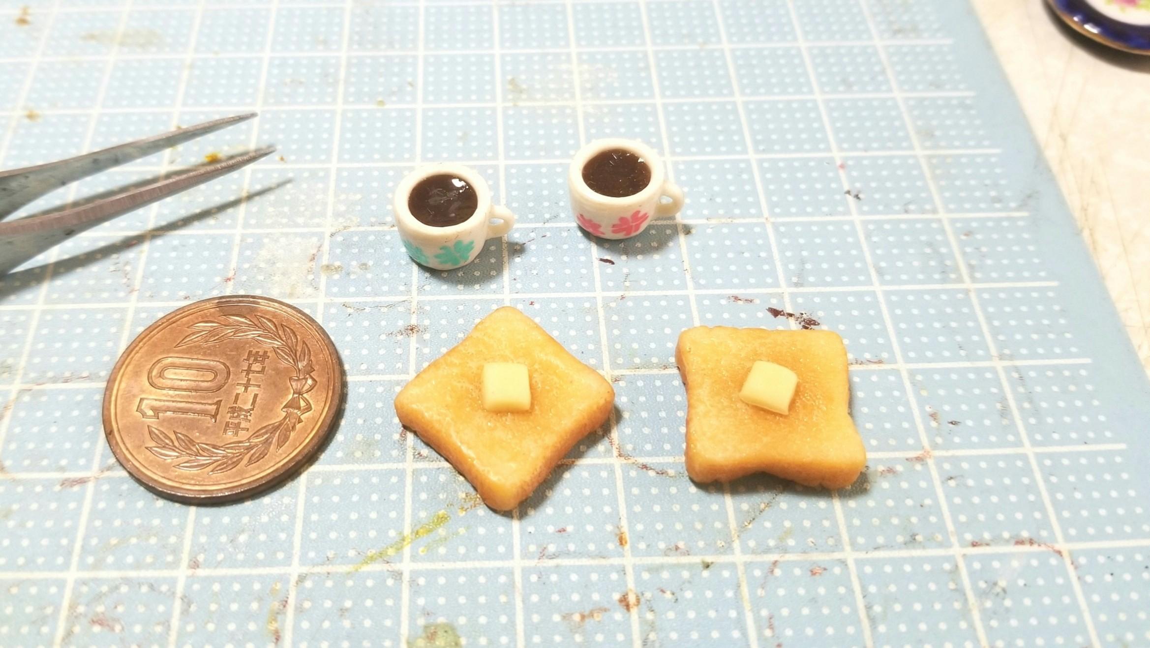 よもぎのミニチュアフード,パン,バタートースト,樹脂粘土,作り方
