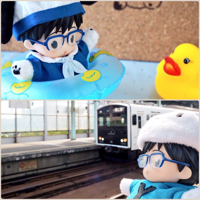 電車を見送る可愛いぬいぐるみ,ぽちゃゆ,ポチャ勇利,オビツ11