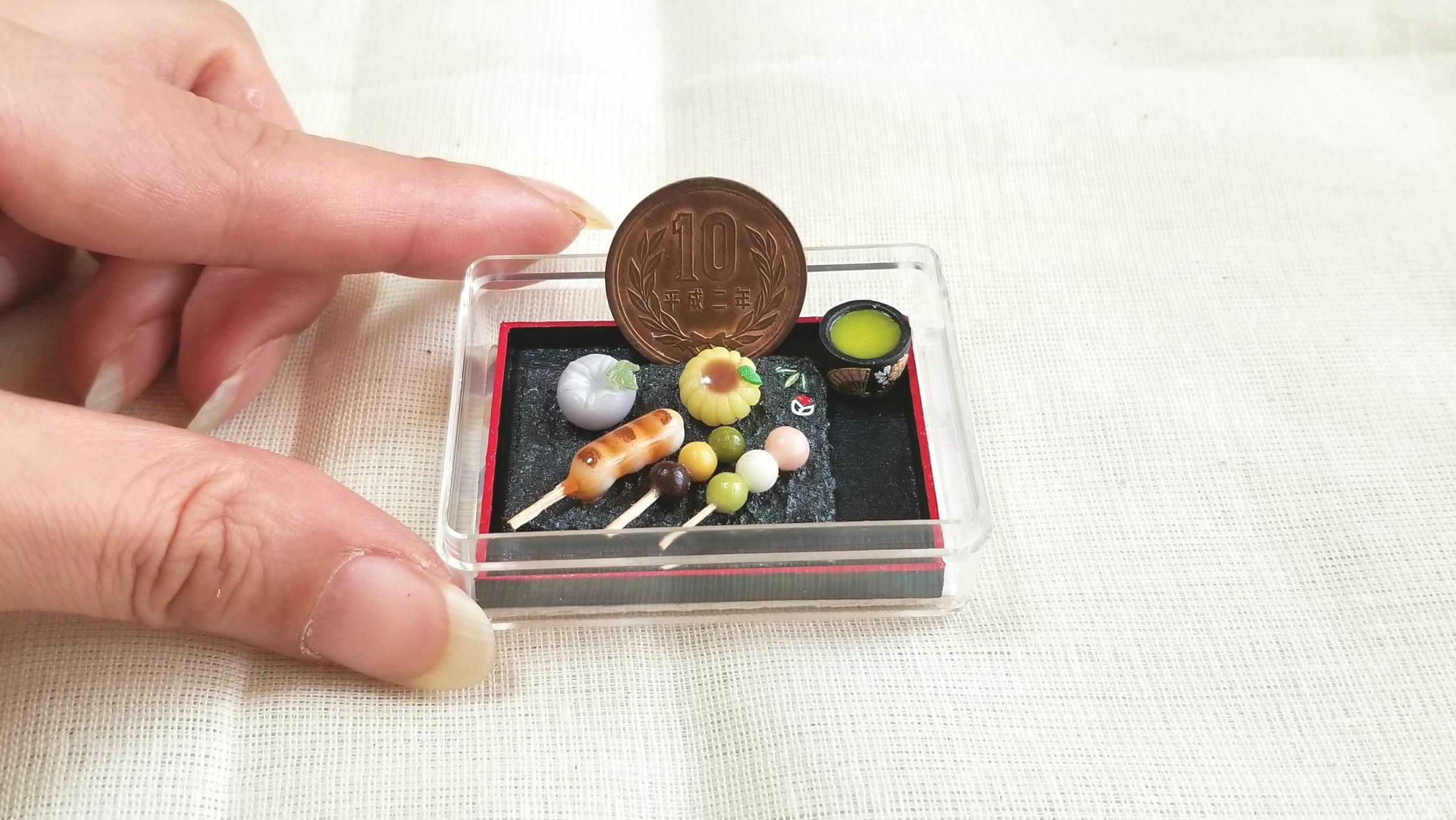 和菓子,坊っちゃんお団子,ミニチュア,樹脂粘土,ドール用品遊び,和柄