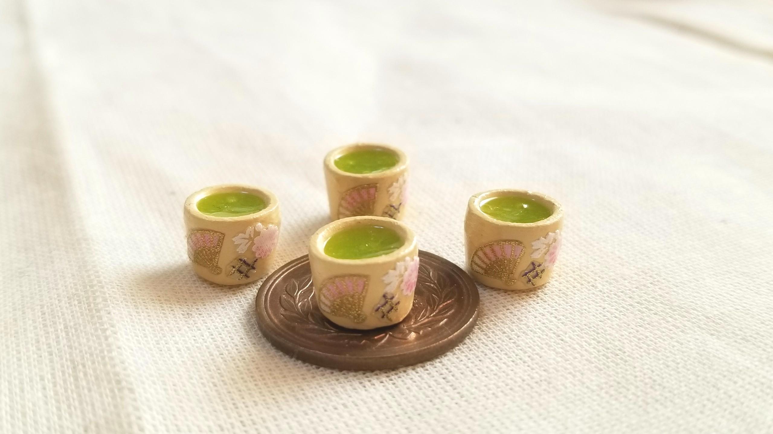 お抹茶,お茶,レジン,ミニチュアフード,粘土,ねんどろ刀剣男士,扇柄