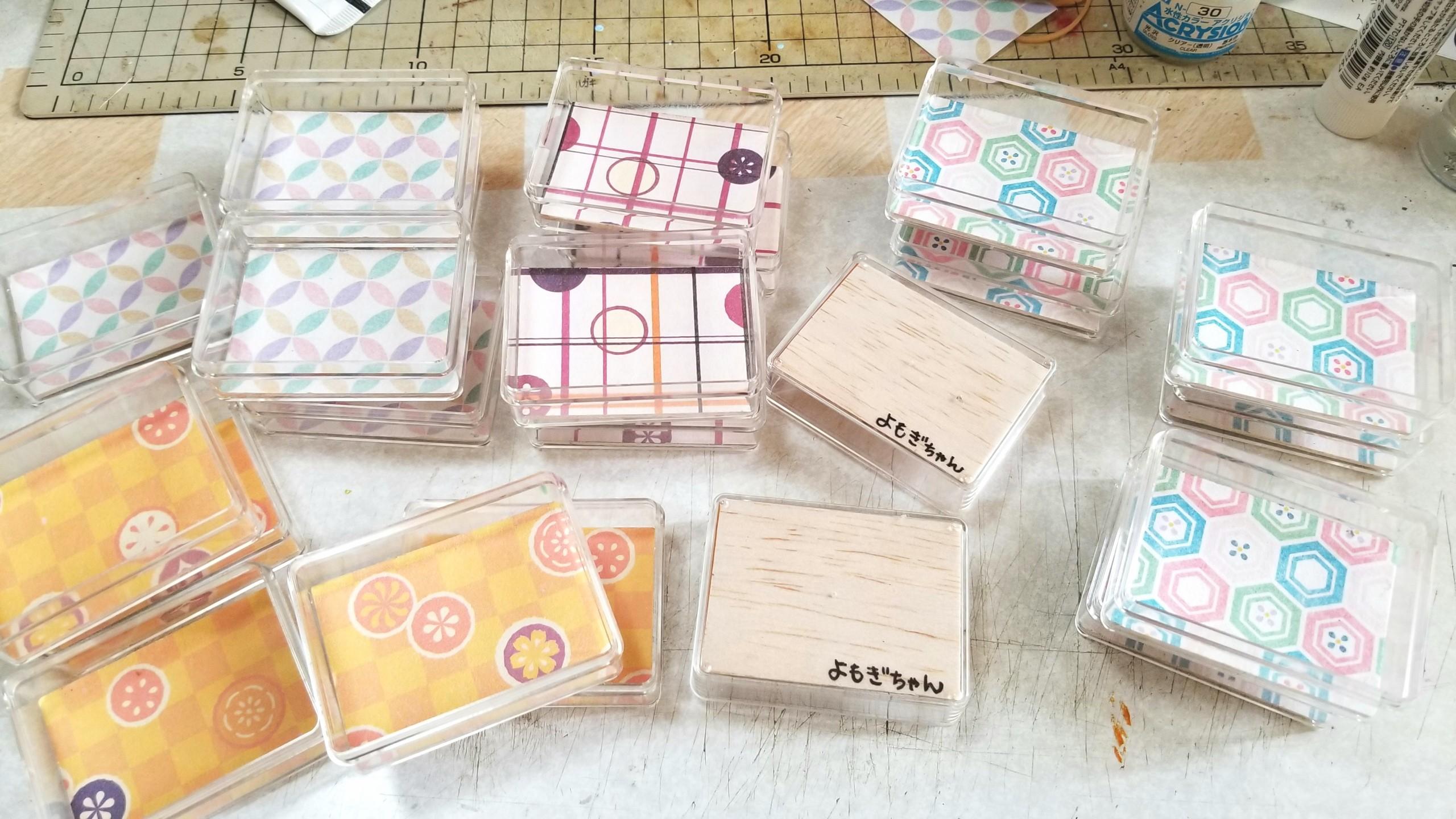 クリアケース,和菓子用,台紙,土台,作り方,ミニチュアフード,千代紙