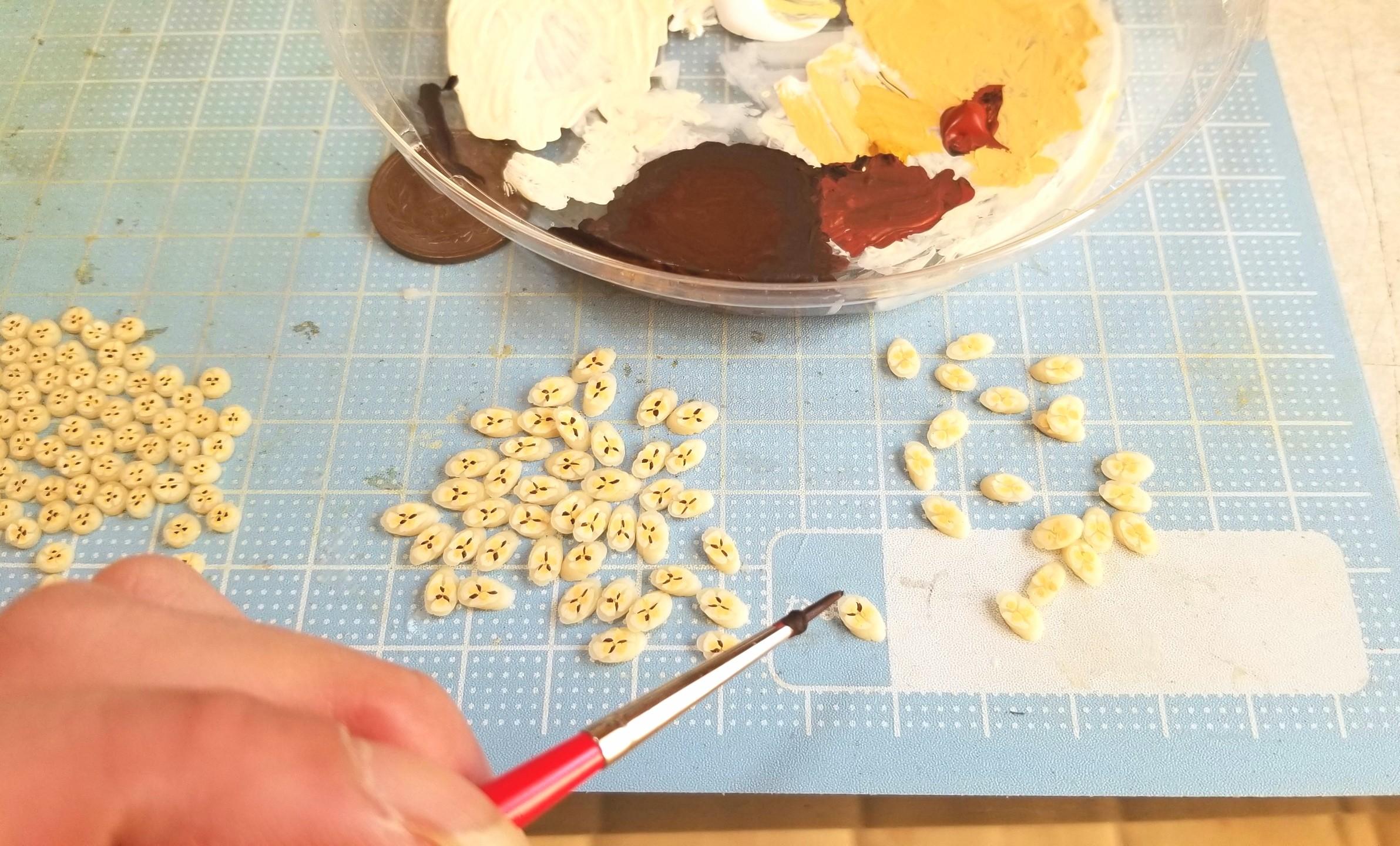 ミニチュアフード,スライスバナナ,作り方,樹脂粘土,ハンドメイド