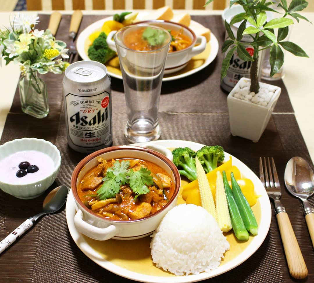 理想的な手料理,チキンバターカレー,おうちご飯,豪華な晩ご飯