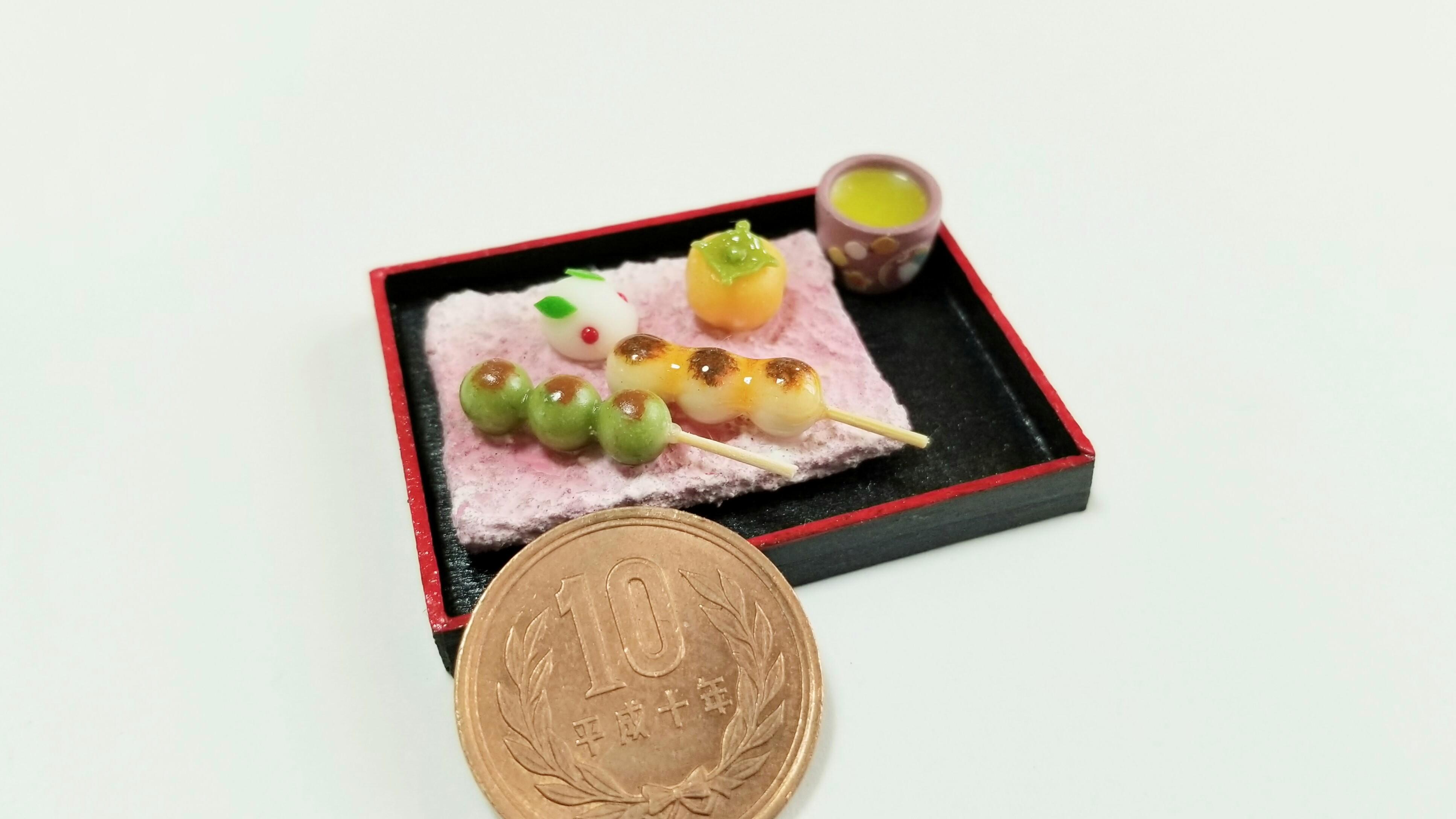 ミニチュアフェイクフード可愛い和菓子みたらし団子うさぎ饅頭柿抹茶
