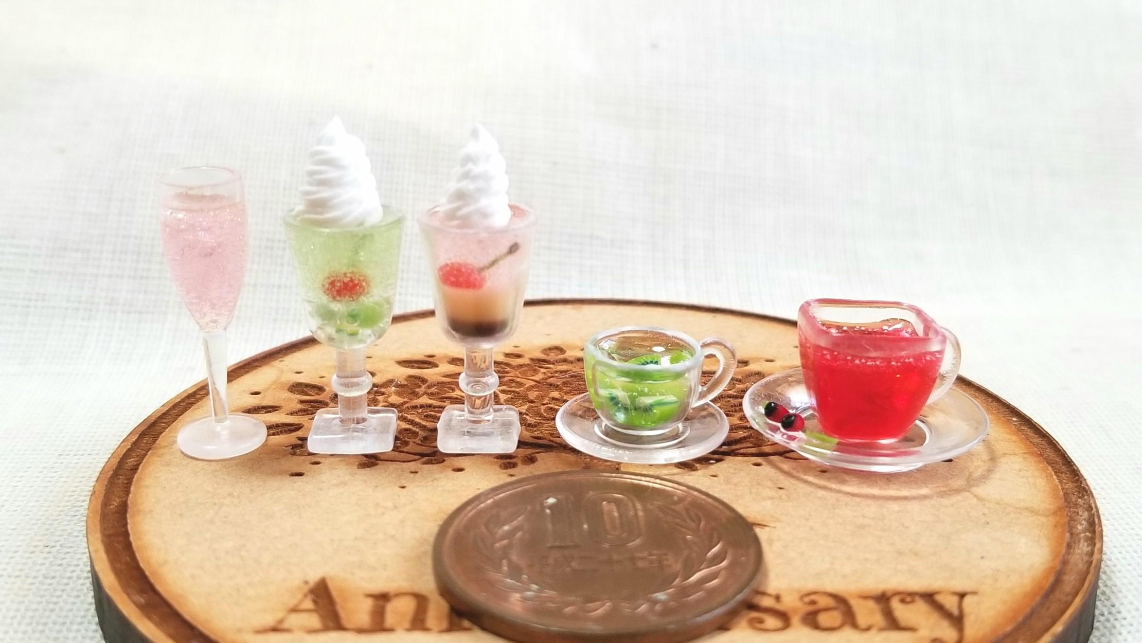 ドリンク,ジュース,ソーダ,紅茶,ミニチュアフード,うまい,ミンネ