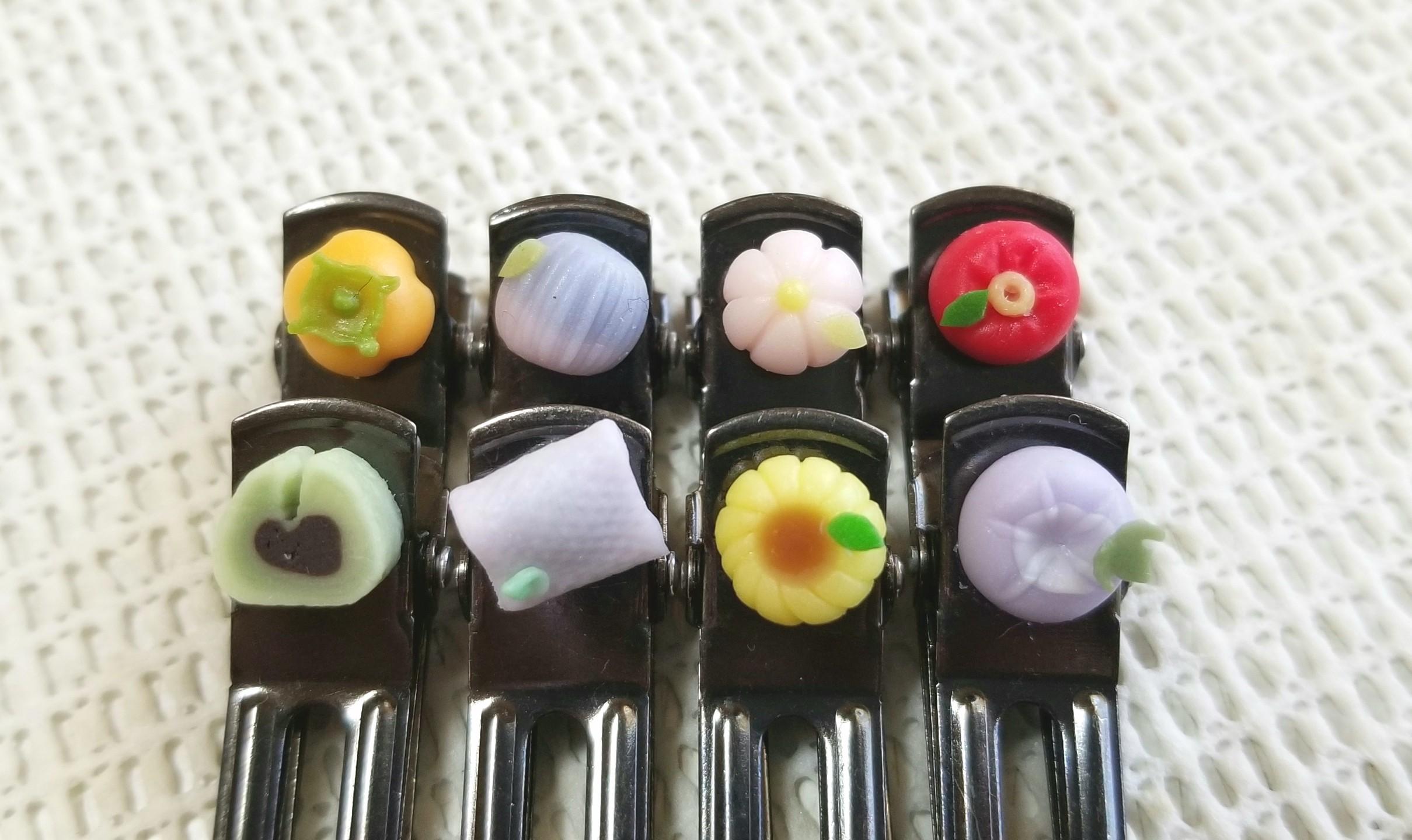 ミンネにて販売中,選べる和菓子,樹脂粘土,ミニチュアフード,ヘアピン