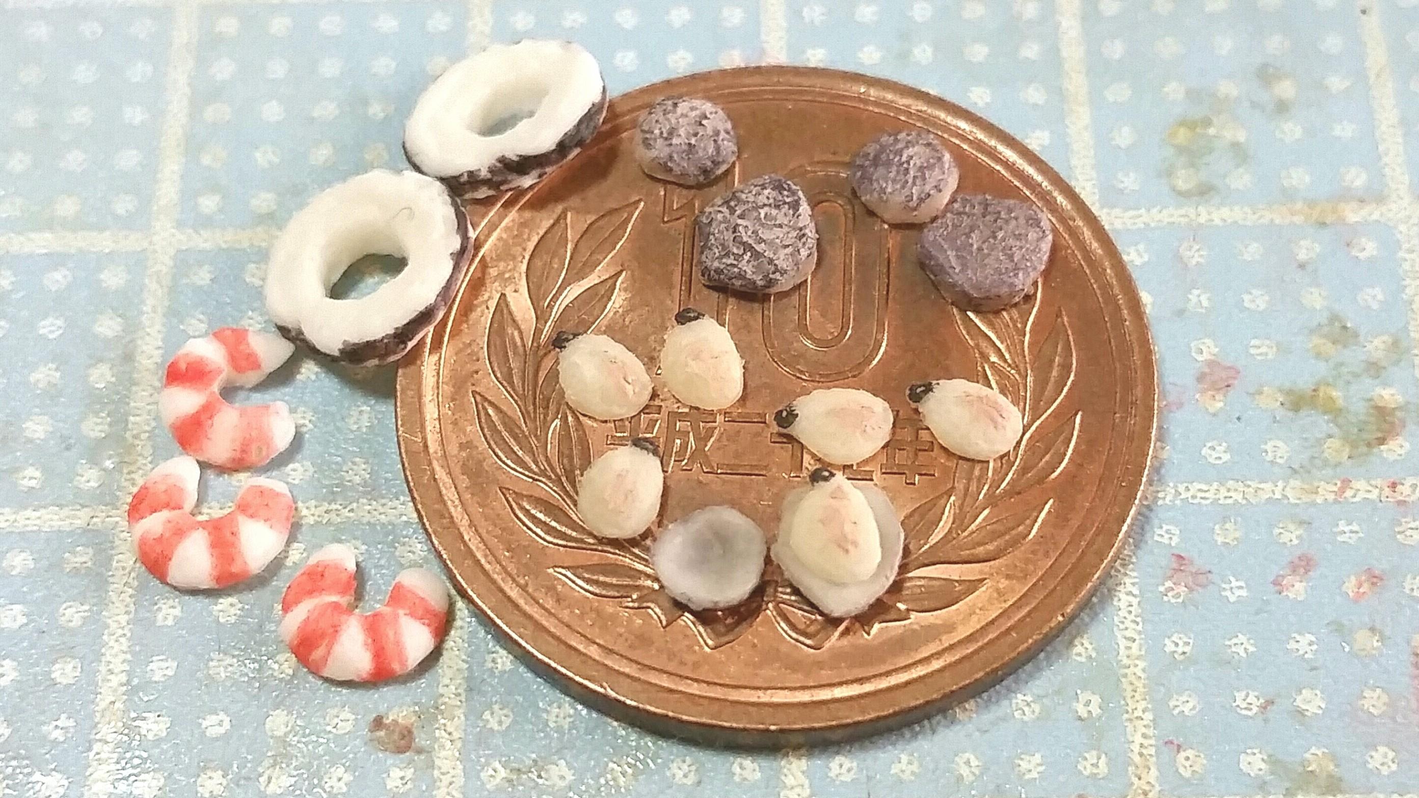 ミニチュア,シーフード,魚介類,えび,いか,あさり,樹脂粘土