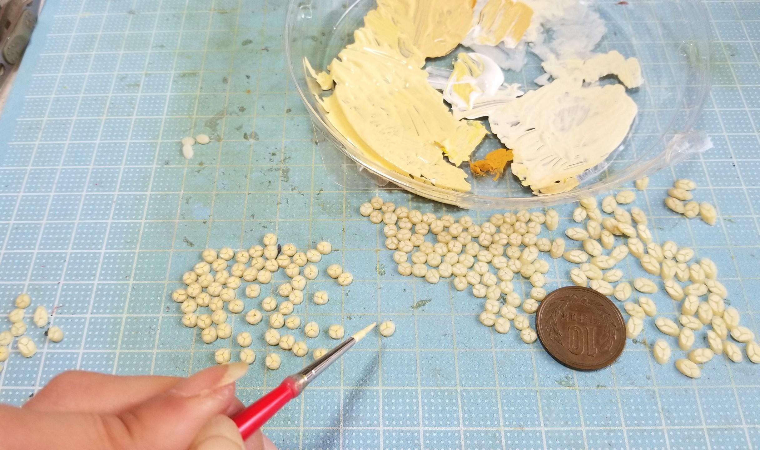 ミニチュアフード,スライスバナナ,作り方,樹脂粘土,フェイクフード