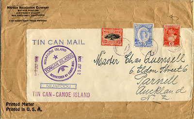 Tin Can Mail Offen Tonga 1934 Niuafoou To New Zealand