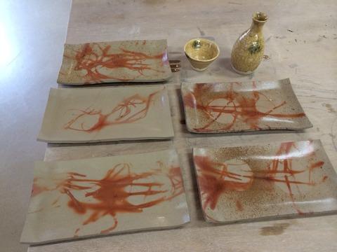 備前緋襷皿と黄瀬戸酒器