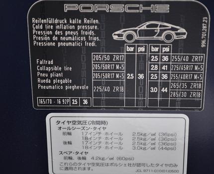 ポルシェ996の空気圧